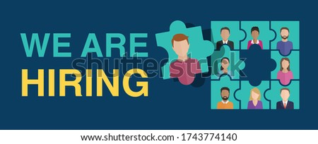 We are hiring (Join our team) concept. People avatars (profile image) - in puzzle form with empty puzzle element inside - motivation of formation of a working team - recruitment hiring banner
