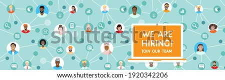 We are hiring, Join our team - human resources recruitment, vector banner with laptop at distance working connected in network people, employees, outsource staff. Diverse international team background
