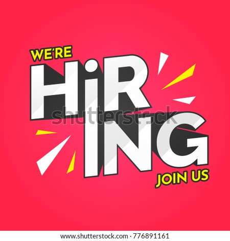 We are Hiring, Join Us. Advertisement Poster or Banner Design on pink background.