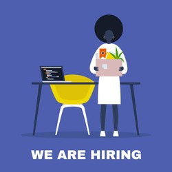 We are hiring. Looking for an employee. HR. Human resources. Young black female character holding a box full of office stationery goods