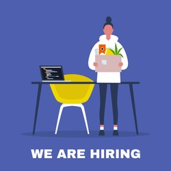 We are hiring. Looking for an employee. HR. Human resources. Young female character holding a box full of office stationery goods