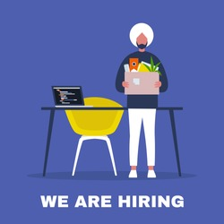We are hiring. Looking for an employee. HR. Human resources. Young indian character holding a box full of office stationery goods