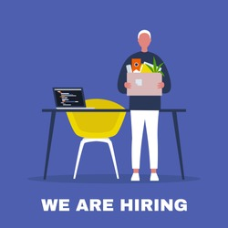 We are hiring. Looking for an employee. HR. Human resources. Young male character holding a box full of office stationery goods