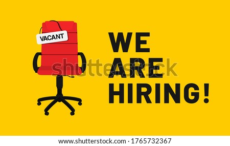We are hiring, open vacancy. Hiring and recruitment banner design. Vacant position, join our team. Business hiring and recruiting concept. Vector Imagine de stoc ©