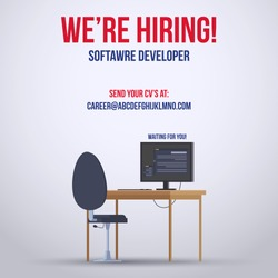 We are hiring post for facebook and instagram dimension. Hiring banner for website for software developer. Post showing computer and chair for hiring
