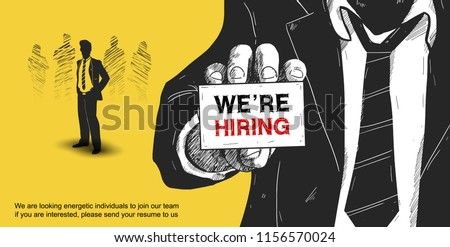 We are hiring poster concept design illustration man show card with businessman yellow background. Business Recruitment Concept. Hand drawing style
