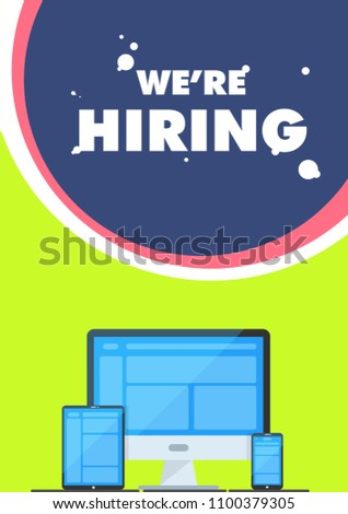 We are Hiring Poster or Banner Design. Job Vacancy Advertisement Concept.