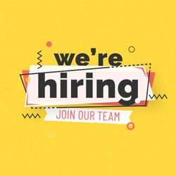 We are Hiring Poster or Banner Design. Job Vacancy Advertisement Concept on yellow background.