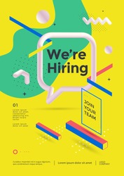 We are hiring poster or flyer design. Employee recruitment banner on yellow background with speech bubble and geometric shapes. Vector illustration