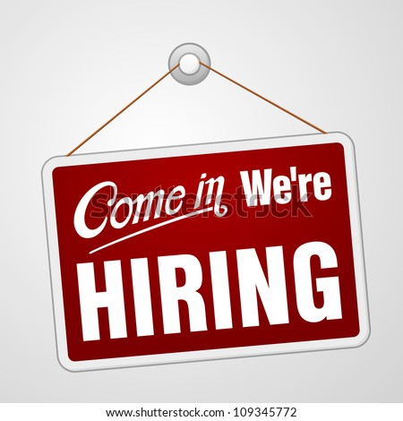 We are Hiring Sign - Illustration of red banner advertising job offers in company