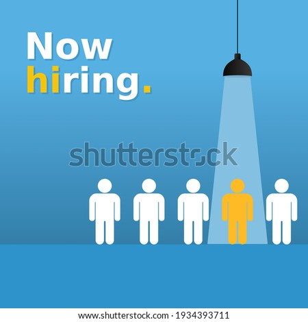 We are hiring simple design with yellow human sign as a symbol of chosen by recruiter. Social media banner template for job vacancy Stock photo ©