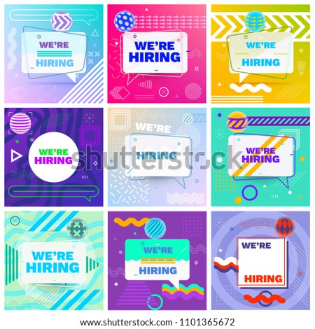 We are Hiring Template, Banner Design or Poster. Set of Job Vacancy Advertisement Concepts in Memphis Style