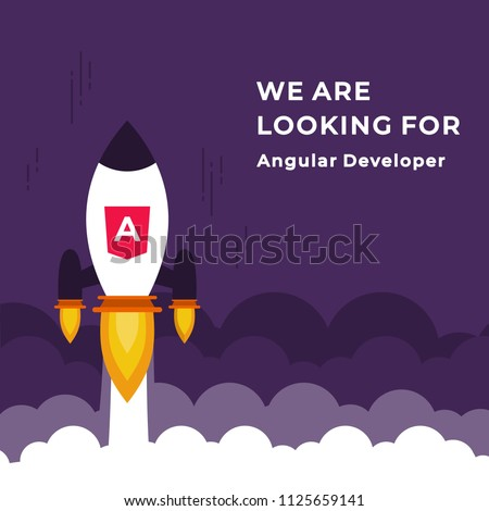 We Are Hiring Vector Concept with Flying Rocket Ship. Startup Project Launching and Looking for an Angular Developer Specialist. Business Hiring and Recruiting Concept Flat Style Vector