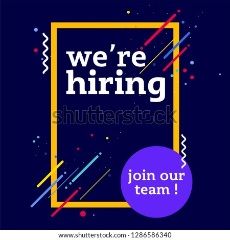 We are hiring vector illustration concept, we're hiring and join our team square banner, can use for, landing page, template, ui, web, mobile app, poster, banner, flyer