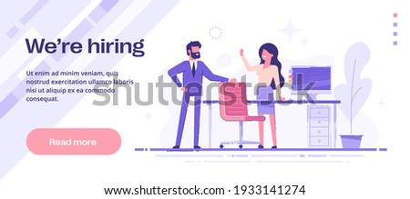 We are hiring web banner. Happy people invite to join to their team. HR, recruitment, headhunting concept. Modern vector illustration.