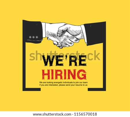 We are hiring yellow background color with shaking hands drawing style