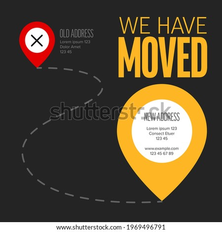 We are moving from one address to another address  minimalistic dark flyer template with place for new company office shop location address. Template for poster flyer with new address after relocation Stock photo ©