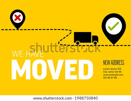 We are moving from one address to another address - minimalistic yellow flyer template with place for new company office shop location address. Template for poster flyer with new address relocation. Foto d'archivio ©