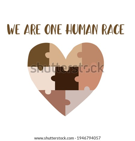 We are one human race. Equal rights for all. Different skin colors puzzles making a heart. No racism concept. Black lives matter. Flat style social card, poster, banner with text. Supporting Vector Сток-фото ©