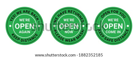 We are open after quarantine due to COVID-19 (coronavirus). Keep social distance.information re-opening of shop, service, cafe, restaurant are working again. Vector illustration Photo stock ©