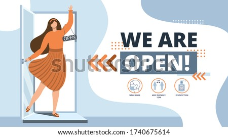 We are open.Welcome back after pandemic.Vector template for landing,banner,poster.We are working again after coronavirus.Reopening.Woman Open a cafe,shop,store,salon.Small business.