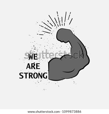 we are strong logo. strong icon. strong arm icon