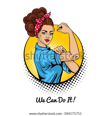 Shutterstock We Can Do It. Pop art sexy strong girl in a circle on white background. Classical american symbol of female power, woman rights, protest, feminism. Vector colorful illustration in retro comic style.