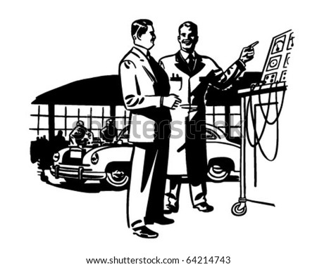 We Do It Scientifically - Auto Mechanics - Retro Clipart