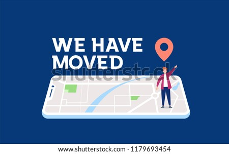 we have moved vector illustration concept, people announce change adress can use for, landing page, template, ui, web, mobile app, poster, banner, flyer Photo stock ©