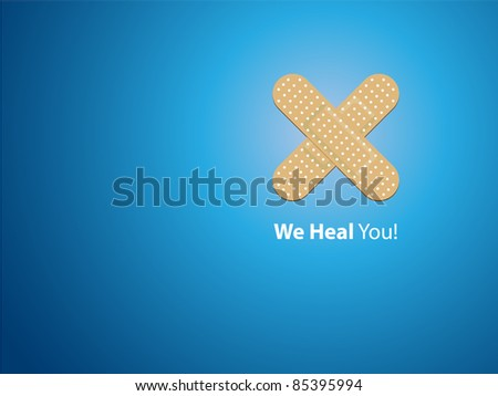 We heal you - blue background - stock vector