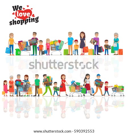 we love shopping concept with