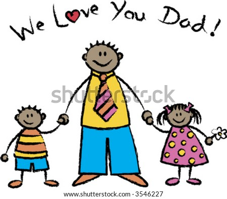 in love with you cartoons. stock vector : WE LOVE YOU DAD