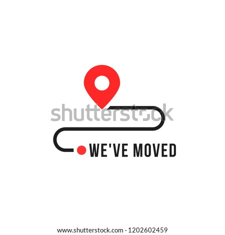 we moved minimal icon with pin. concept of interest land mark like ecommerce delivery or transfer. flat stroke trendy locator logotype graphic art simple design illustration element isolated on white