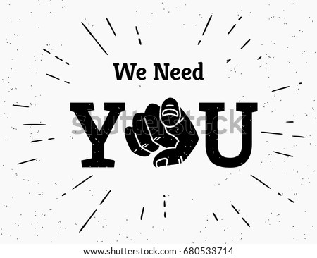 we need you concept vector