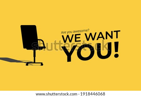 We're hiring concept. Minimal business recruiting announcement with office chair symbol. Сток-фото ©