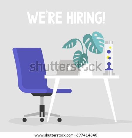 We're hiring. Join our team. Vacancy banner. Flat editable vector illustration, clip art