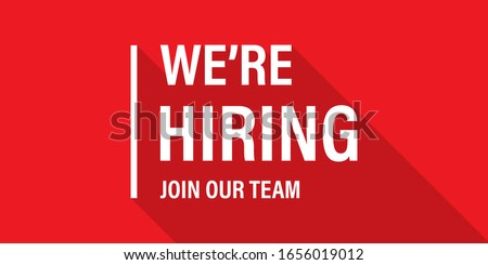 We're hiring red vector banner. Employee vacancy announcement. Illustration isolated. Business recruiting concept. EPS 10 Stock photo ©