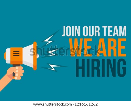 We're hiring(We are hiring).Shout out for hiring.Loudspeaker vector icon.Join our team illustration.