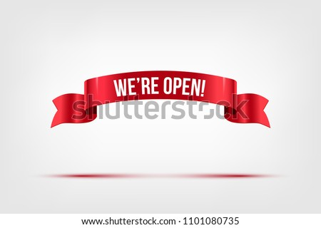 We're open text on red ribbon isolated on gray. Vector illustration. #1101080735