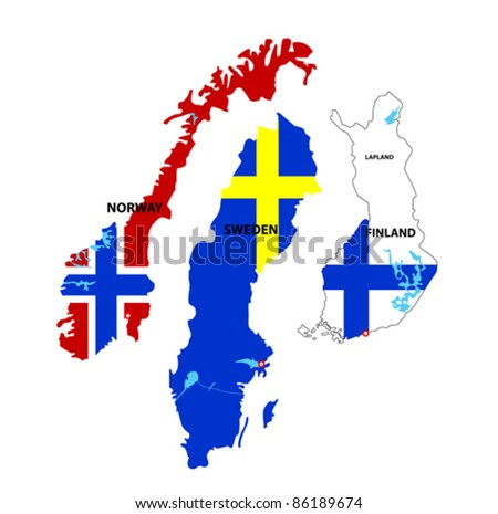 We see illustration of Isolated maps of Norway, Sweden and Finland
