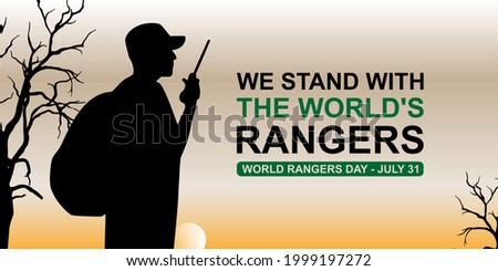 we stand with the world's rangers poster, banner vector. world rangers day concept ilustration. ps 10 Stock photo ©