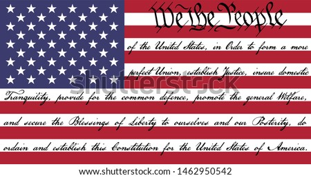 We The People American Flag with the preamble to the US Constitution written on the stripes. Stockfoto ©