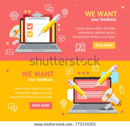 We Want Feedback Banner Card Poster Set Client Information Testimonial Concept for Business. Vector illustration of Customer Comments