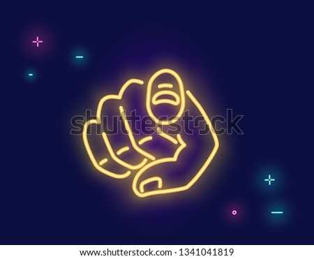 We want you human hand with the finger pointing or gesturing towards you in neon light style isolated on dark purple background. Bright vector neon illustration light website banner and landing page #1341041819