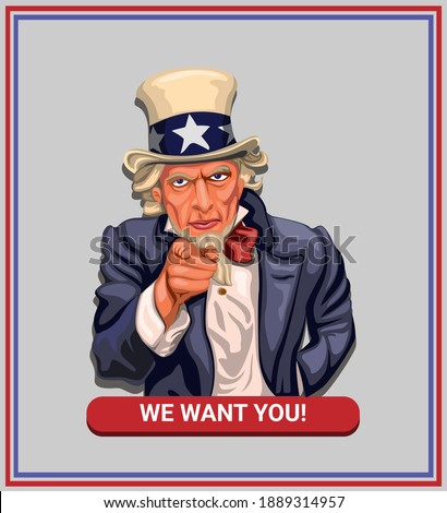 We want you! slogan with uncle sam in american vintage poster concept in cartoon illustration vector Zdjęcia stock ©