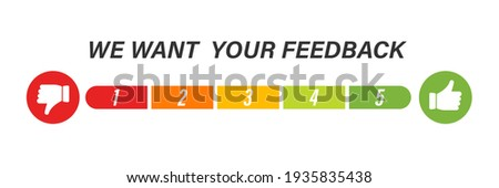 We want your feedback vector icon. Rate 1 to 5 . Colored scale on white backgroun . 10 eps Photo stock ©