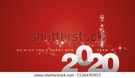 We wish you a Happy New Year 2020 silver red greeting card