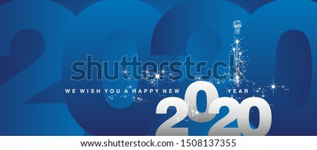 We wish you a Happy New Year 2020 sparkle firework white silver blue greeting card