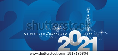 We wish you a Happy New Year 2021 sparkle firework white silver blue greeting card stock photo