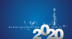 We wish you a Happy New Year 2020 white silver blue greeting card